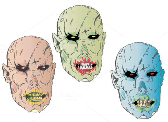 Customizable Zombie Head 3-pack