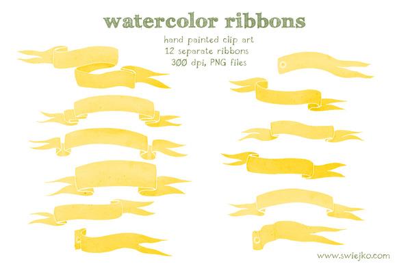 Watercolor Ribbons Clip Art