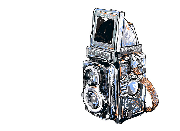 Old Twin Lens Reflex-vector