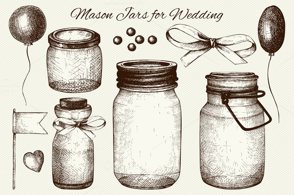 Vector Set Of Mason Jars For Wedding