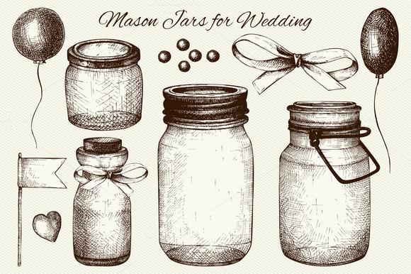 Vector Set Of Mason Jars For Wedding