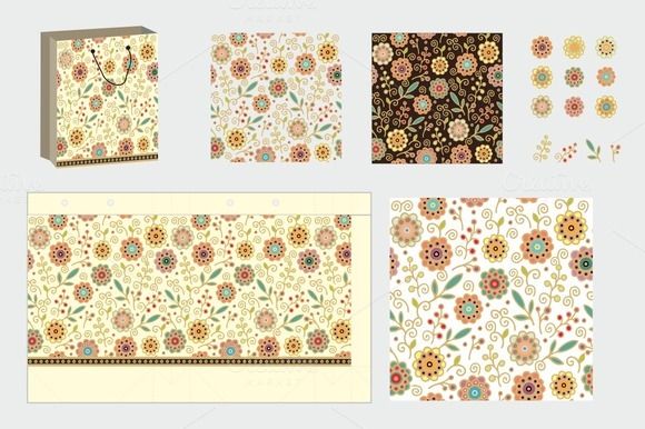 Gift Package And Seamless Patterns