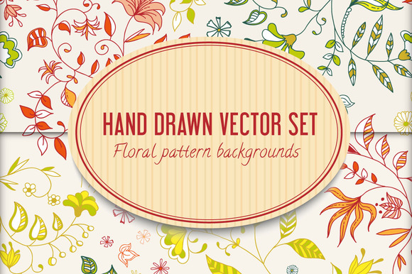 Handdrawn Vector Floral Pattern Set