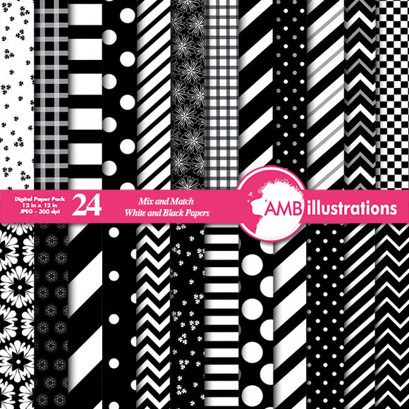 Mixed Black White Papers AMB-531