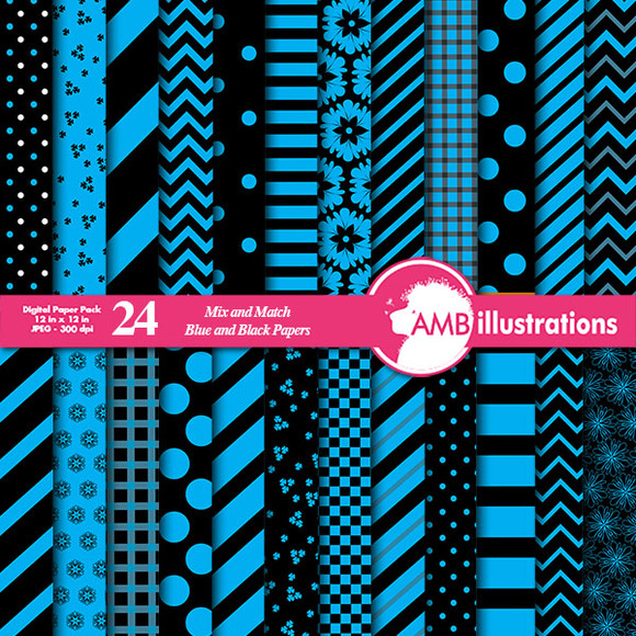 24 Mixed Blue Digital Papers AMB-532