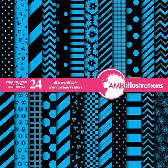 24 Mixed Blue Digital Papers AMB-532