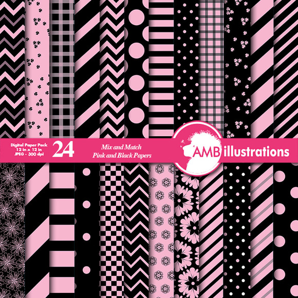 MIxed Pink And Black Papers AMB-533