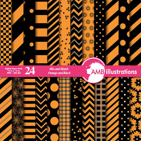 Mixed Papers Orange Black AMB-534