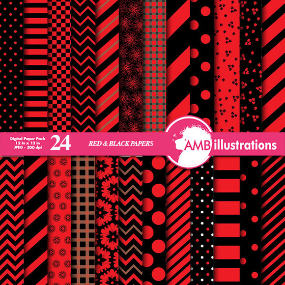 Mixed Red And Black Papers AMB-537