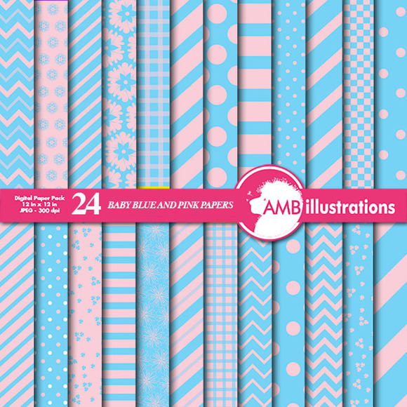 Mixed Blue And Pink Papers AMB-539