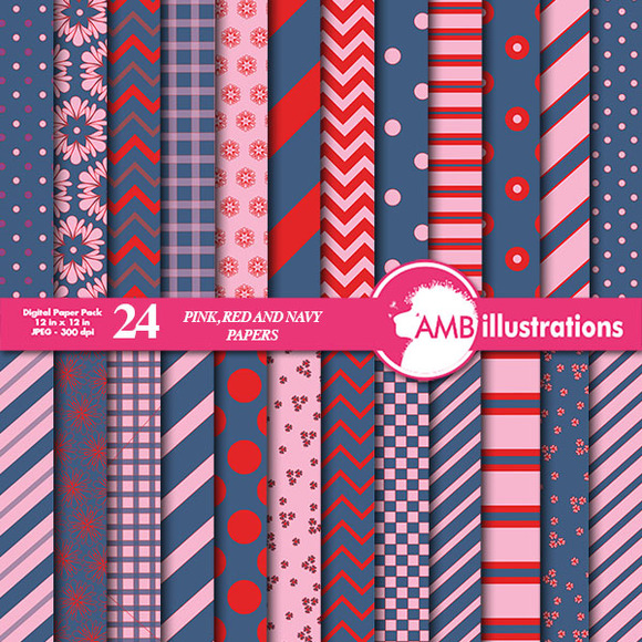 Mix Navy Red Pink Papers AMB-544