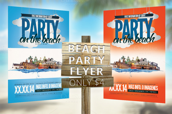 BEACH PARTY FLYER ONLY $4