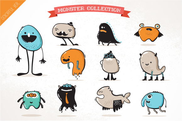 Cute Monster Icons 3 Templates