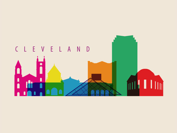 Cleveland City Landmark Illustration