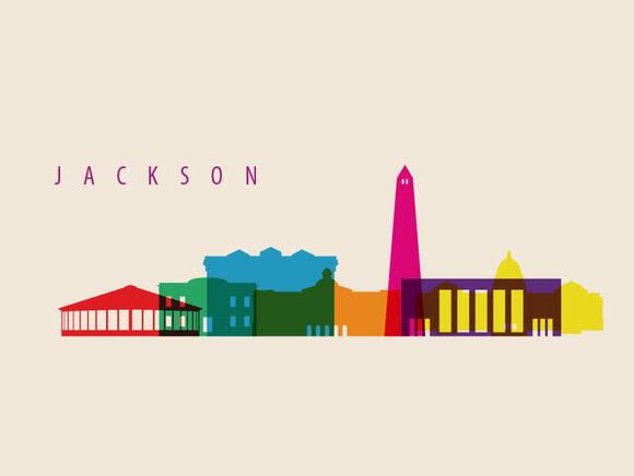 Jackson City Landmarks Illustration