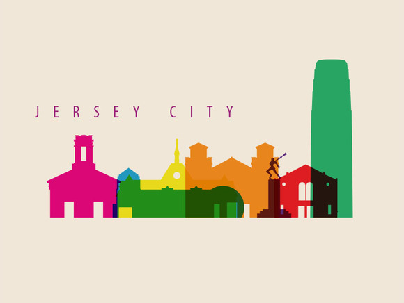 Jersey City Landmarks Illustration