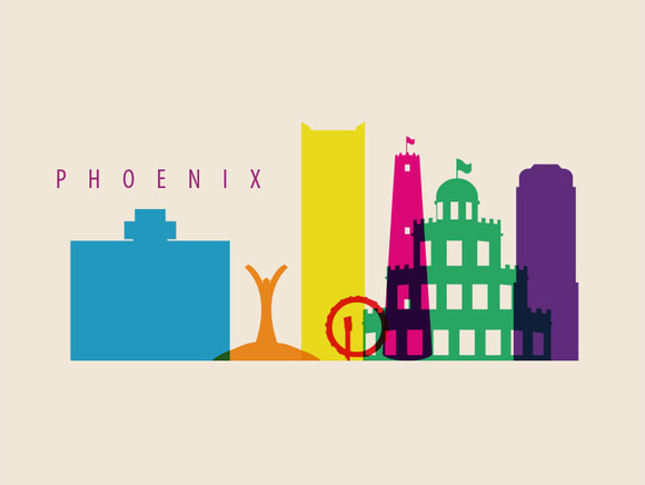 Pheonix City Landmarks Illustration