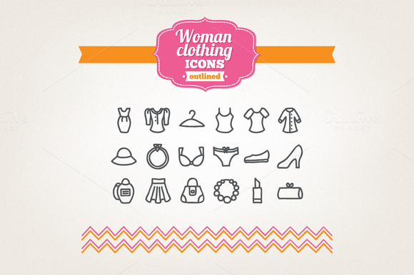 Hand Drawn Woman Clothing Icons
