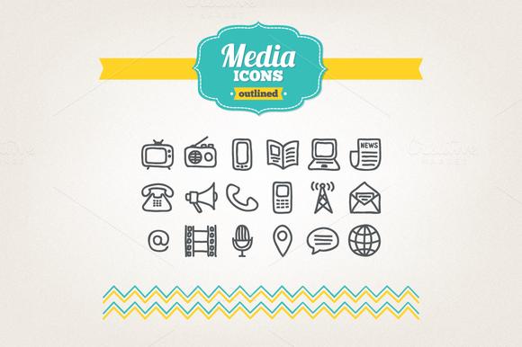 Hand Drawn Media Icons