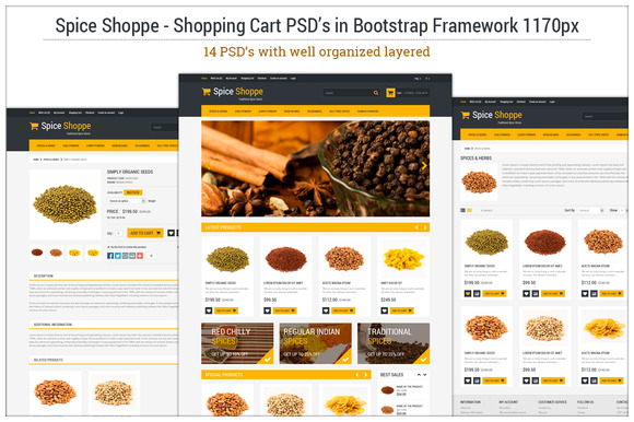 Spice Shoppe Bootstrap 14 PSD S