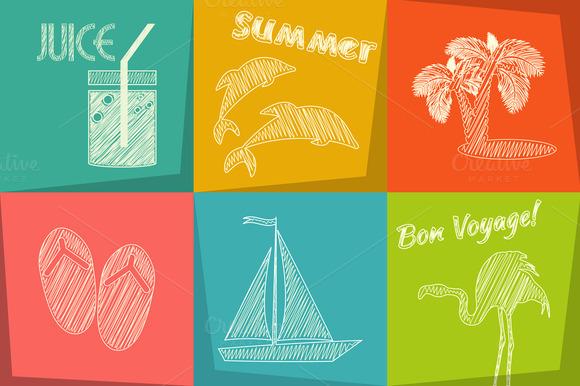 Travel Chalk Icons Set