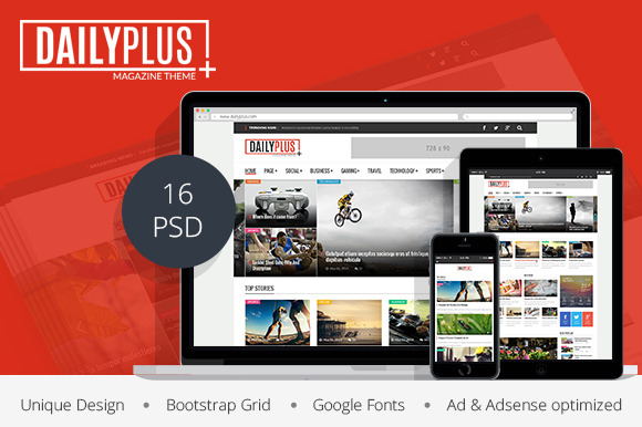 DailyPlus News Magazine PSD Temp