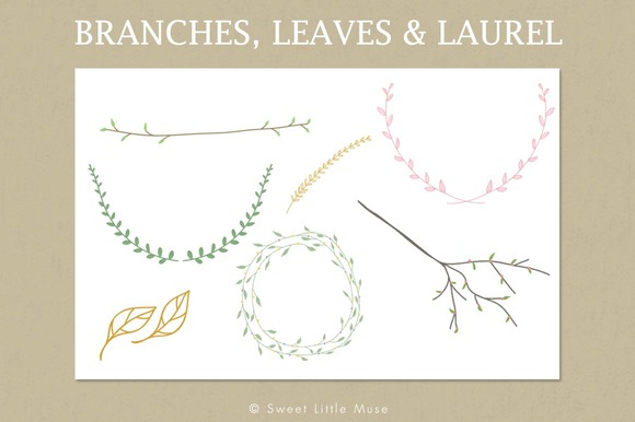 Clip Art Branches Leaves Laurel