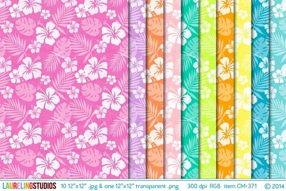 Hibiscus Pattern Digital Paper