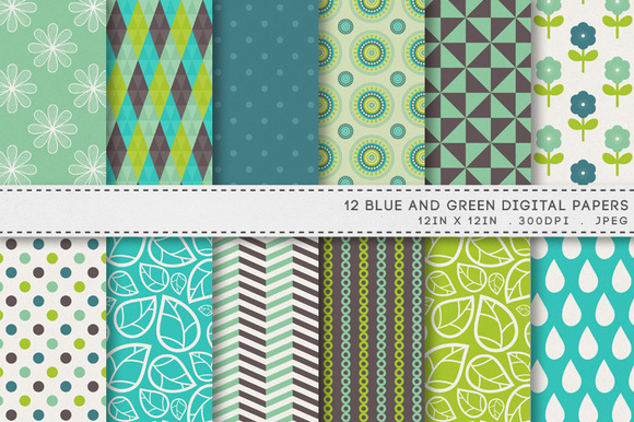 12 Blue Green Digital Papers