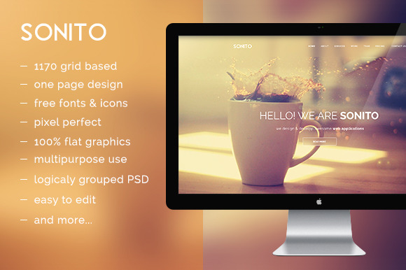 Sonito PSD Theme- One Page