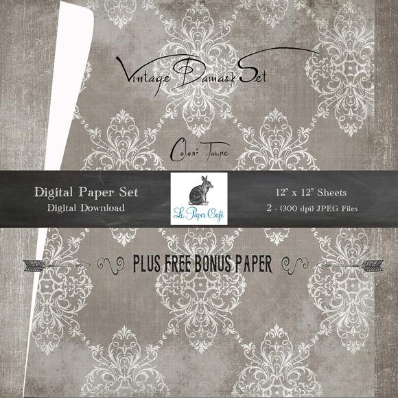 Vintage Damask Script Backgrounds
