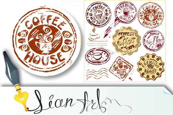 Coffee Cups Icons Sketch Symbols