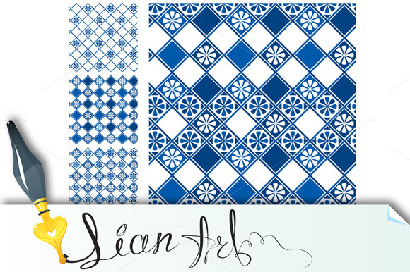 Set Of Seamless Patterns Blue #1
