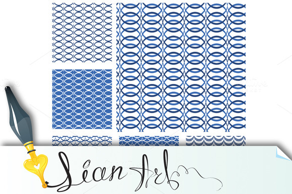 Set Of Seamless Patterns Blue #2
