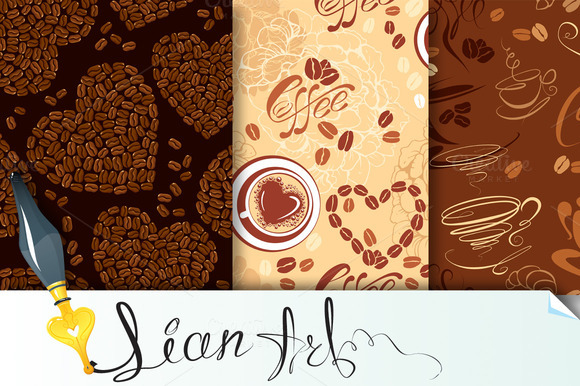 3 Seamless Patterns With Coffee