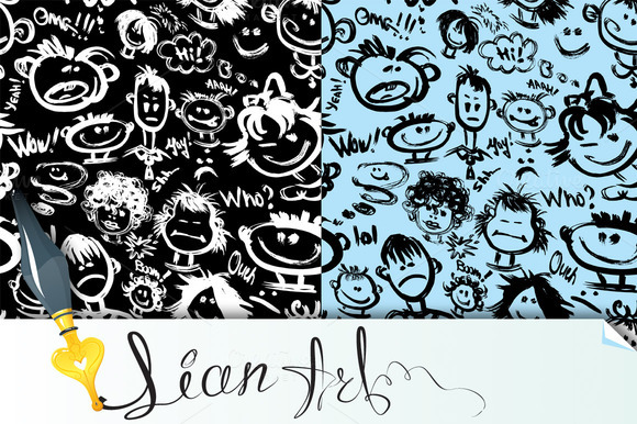 Seamless Patterns Cartoon Faces