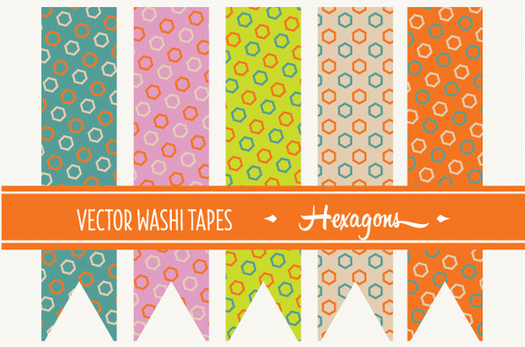 15 Vector Washi Tapes Hexagons