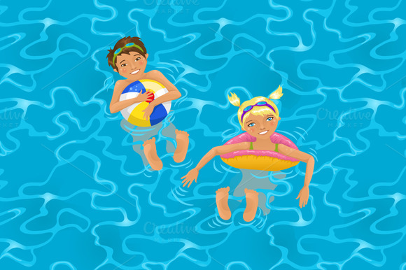 Vector Cute Kids Swimming