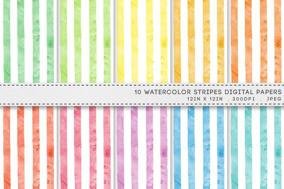 Watercolour Stripes Digital Paper