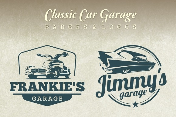 Classic Car Garage Badges Logos
