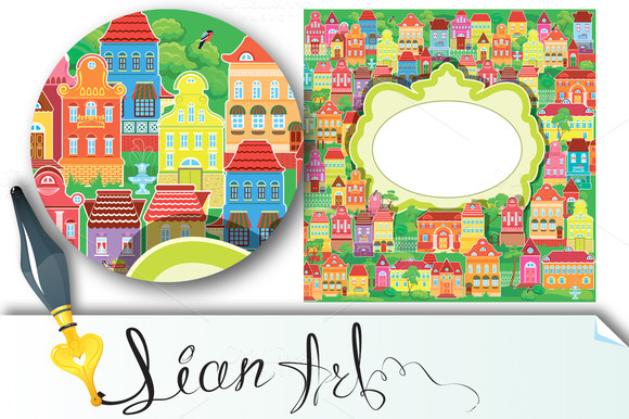 Frame And Decorative Colorful Houses