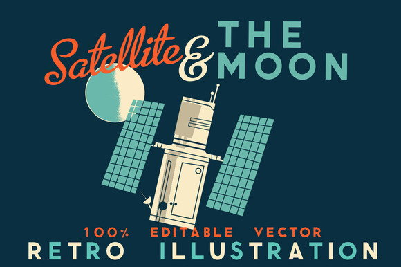 Satellite The Moon Retro Vector
