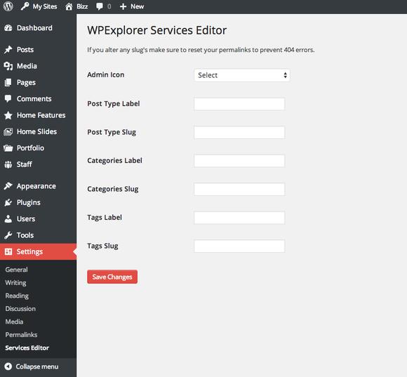 WPExplorer Services PostType Editor