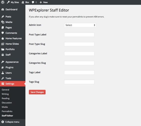 WPExplorer Staff PostType Editor