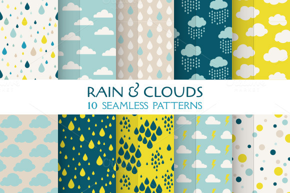 Rain Clouds 10 Seamless Patterns