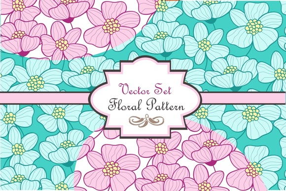 Three Cute Floral Vector Patterns