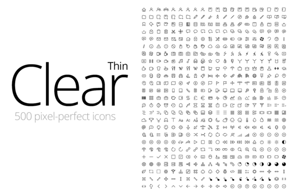 Clear Thin 500 Icons