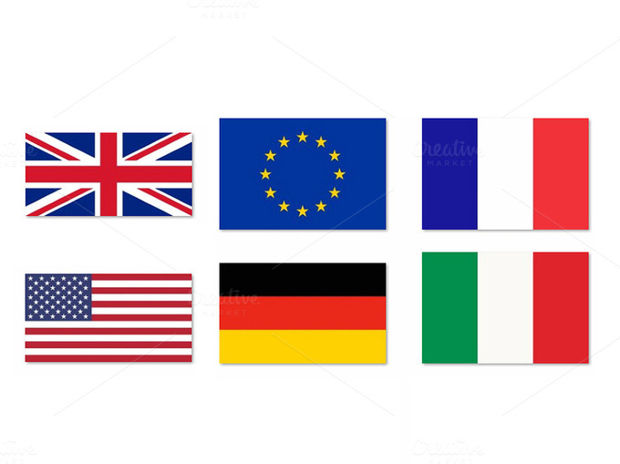 EU USA UK DE FR IT Flags