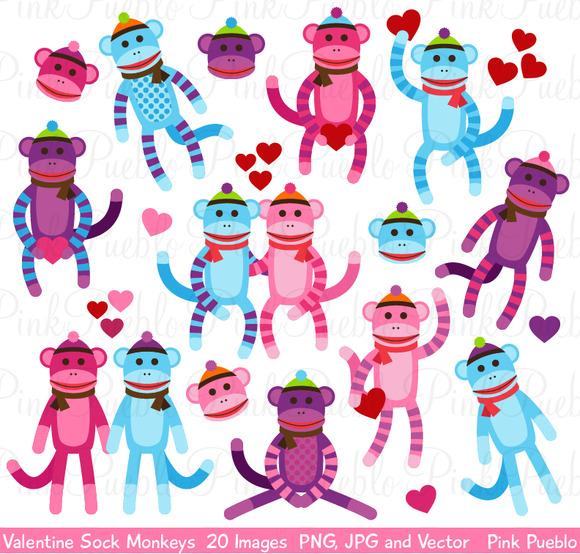 Valentine Sock Monkey Clipart Vector