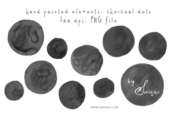 Chorcoal Dots Watercolor Clipart